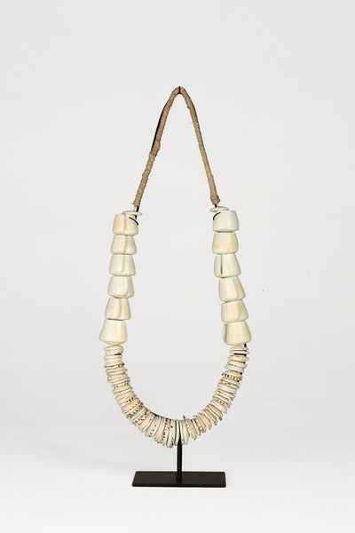 Papua New Guniea Tall Shell Tribal Necklace Sculpture