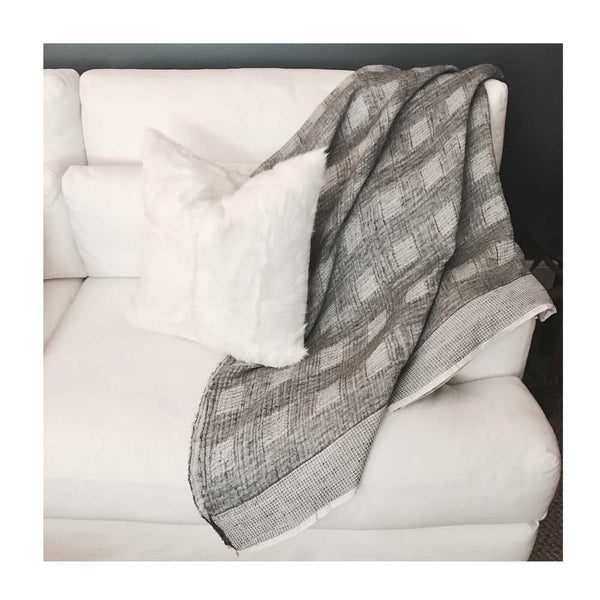 Hand Woven Linen & Wool Throw Blanket Collection