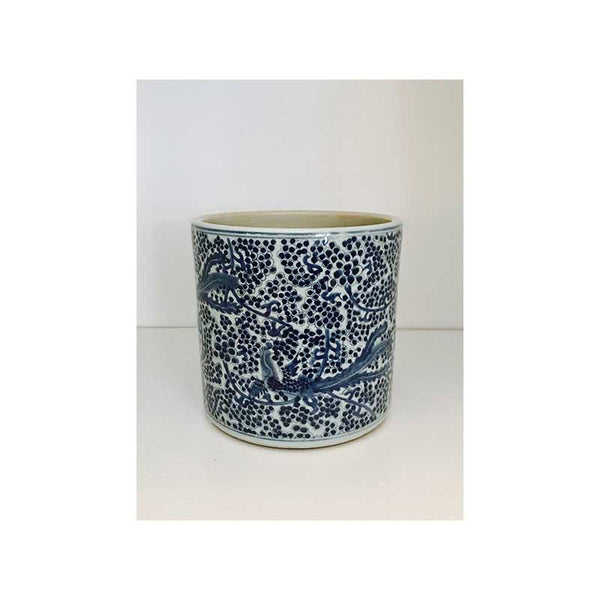 Large Blue & White Asian Orchid Pot
