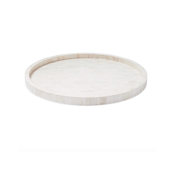 Large Round White Bone Tray w/ Handles