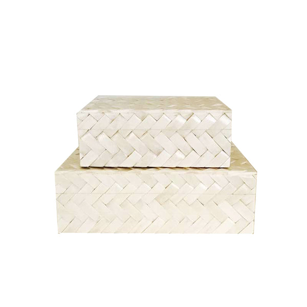 White Bone Box with Weave Design