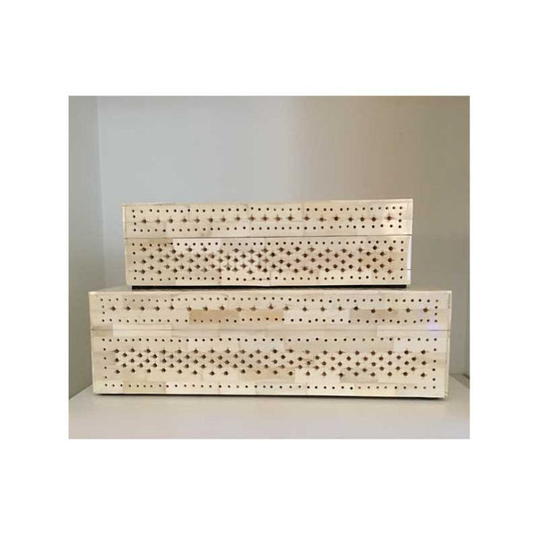 Lace Design Carved Bone Boxes