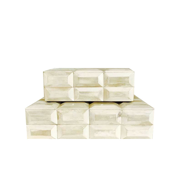 Natural White Bone Tile Boxes