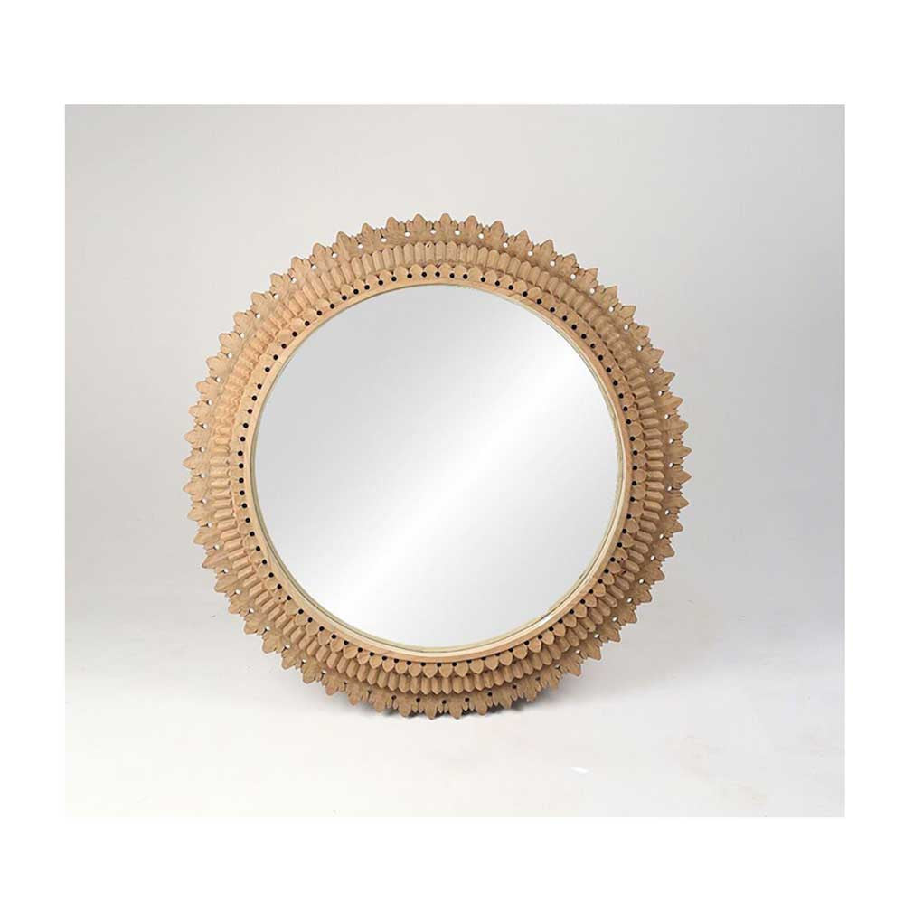 Carved Round Temple Mirror - Large
