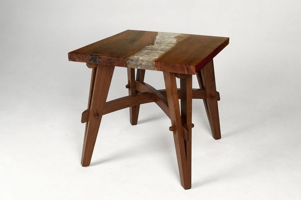 Teak & Resin Side Table