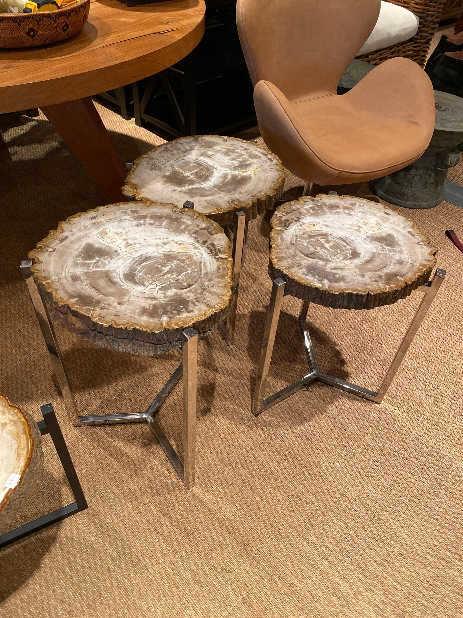 Petrified Wood Side Tables with Chrome- Thick