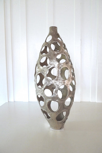 Silver Bronze Sculpture with Holes