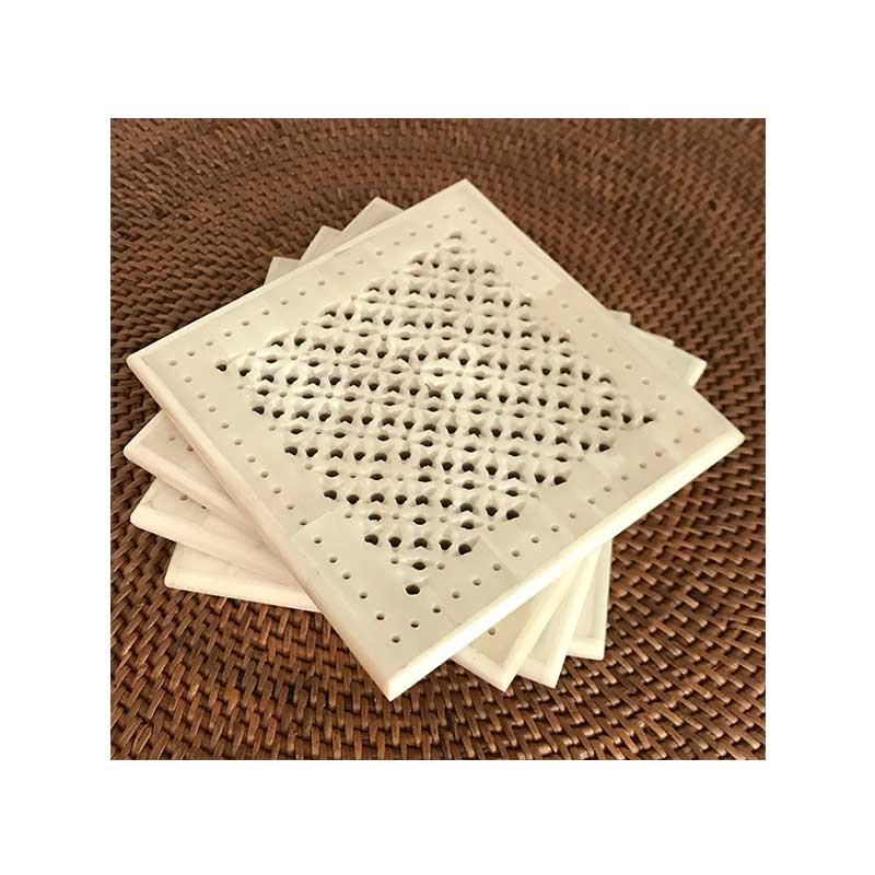 Lace Design Bone Carved Coasters