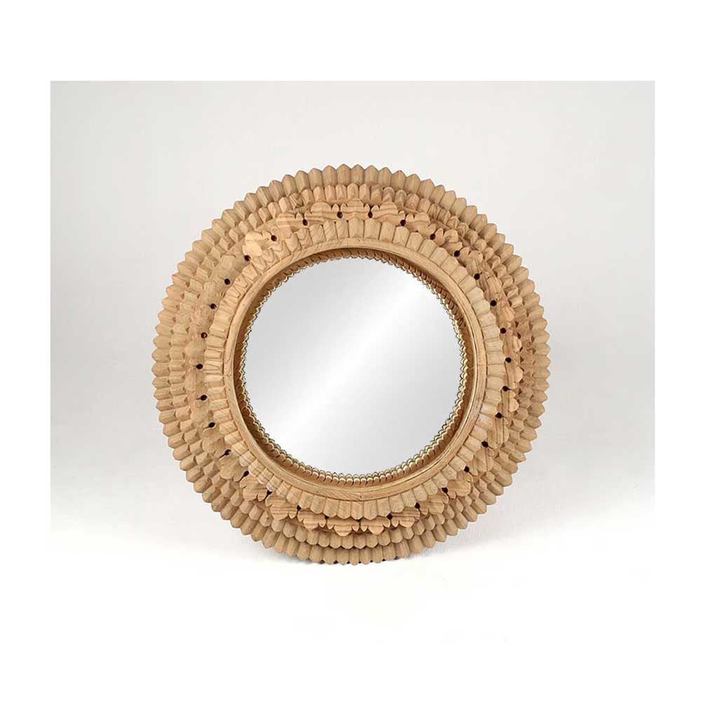 Carved Round Temple Mirror - Small