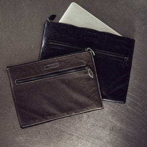 Gray Leather Computer Sleeve