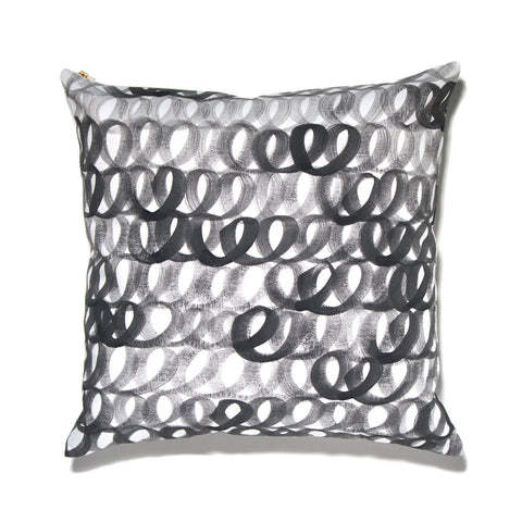 Hand Painted Loop Pillow Black