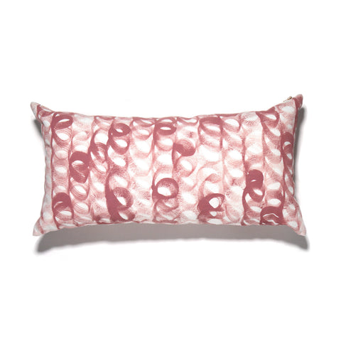 Hand Painted Loop Lumbar Pillow Rose