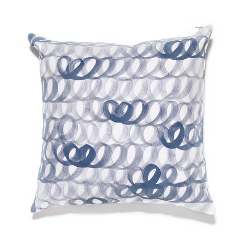 Hand Painted Loop Pillow Blue