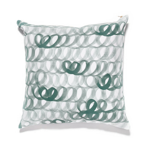 Hand Painted Loop Pillow Evergreen