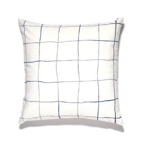 Handpainted Windowpane Print Pillow
