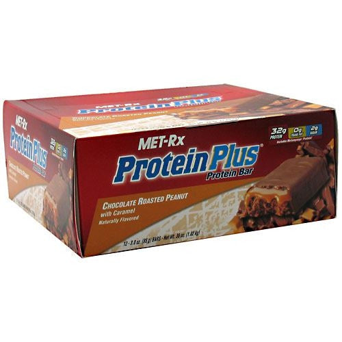 MET-Rx Protein Plus Protein Bar - Chocolate Roasted Peanut with Caramel - 12 Bars - 786560016520