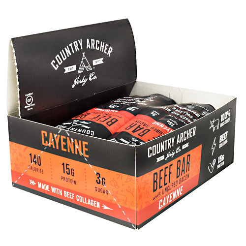 Country Archer Beef Bar with Collagen - Cayenne - 12 Bars - 854837006052