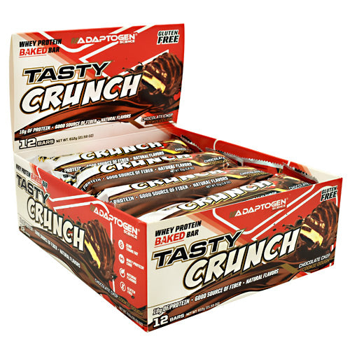 Adaptogen Science Tasty Crunch Bar - Chocolate Chip Cookie Dough - 12 Bars - 864313000481
