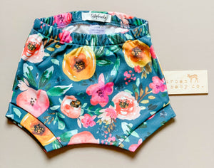 Watercolor Floral Organic Cotton Baby Shorts