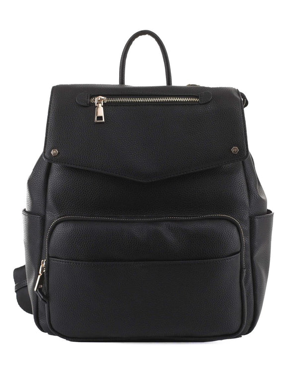 Lux Vegan Black Leather Diaper Backpack With Gold Hardware