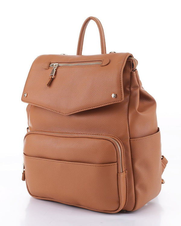 Lux Vegan Camel Leather Diaper Backpack