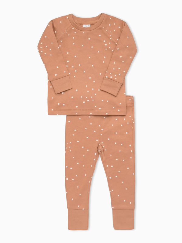 Organic Cotton Square Dot Long Sleeve Jammie Set