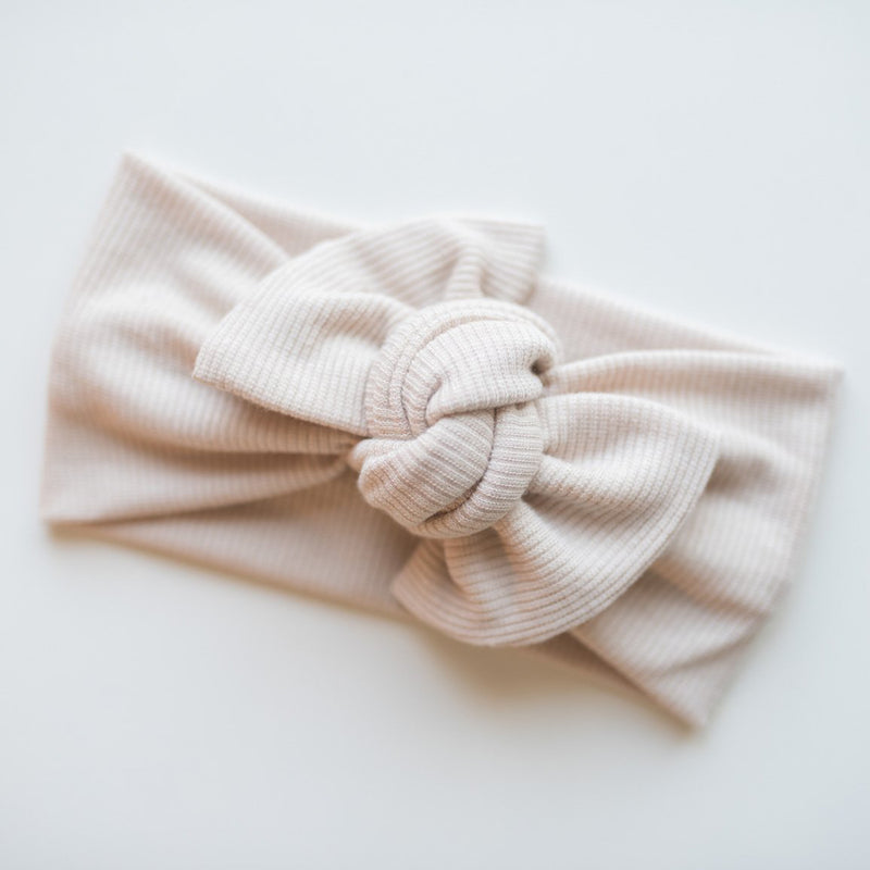 Top Knot Headwrap - Solid Taupe Ribbed