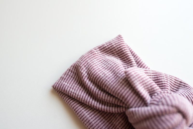 Top Knot Headwrap - Solid Purple Ribbed