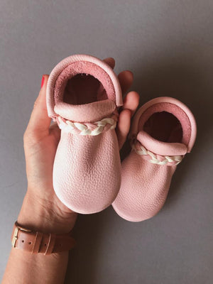 Premium Leather Baby Fringe Moccasins - Rosie Pink Braid