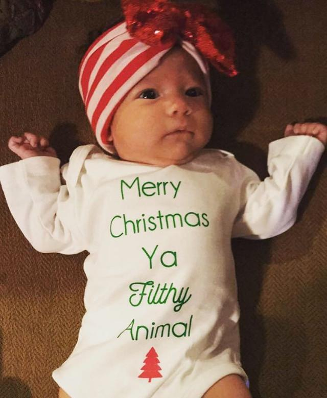 Merry Christmas Ya Filthy Animal Baby, Boy, Girl, Unisex, Gender Neutral, Infant, Toddler, Newborn, Organic, Bodysuit, Outfit, One Piece, Onesie®, Onsie®, Tee, Layette, Onezie®