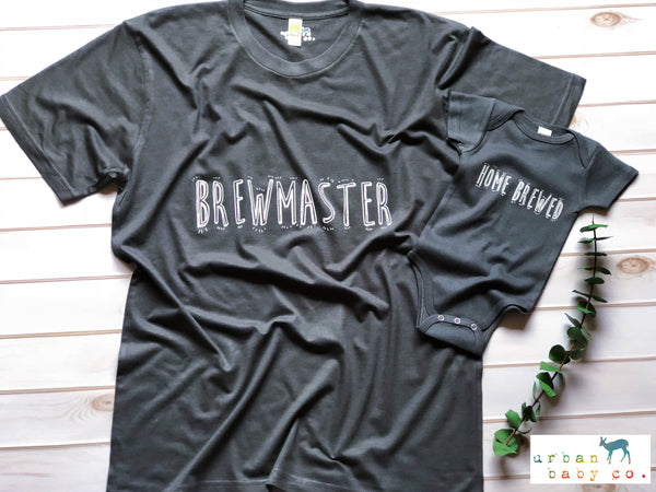 Brewmaster Eco Men's T-Shirt & Home Brewed Organic Baby Onesie® Matching Outfits