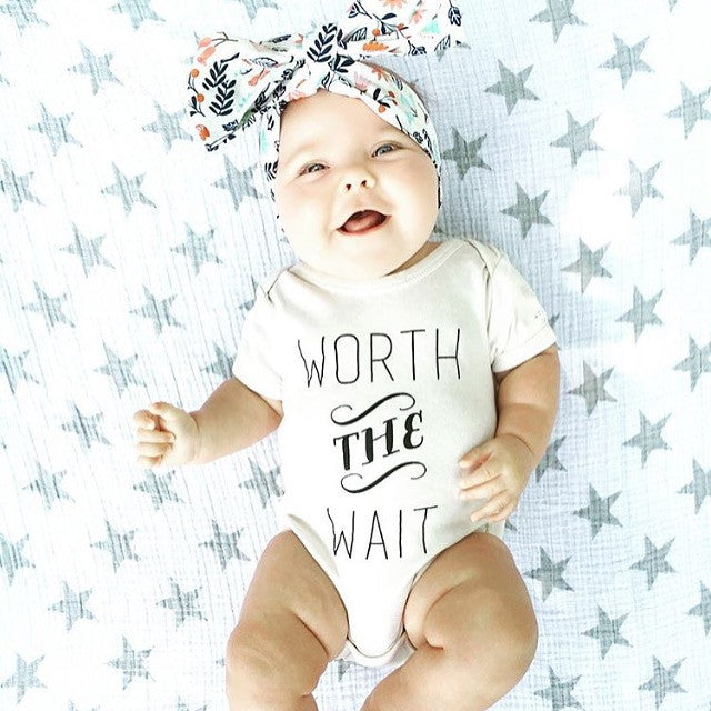 Worth The Wait Baby, Boy, Girl, Unisex, Gender Neutral, Infant, Toddler, Newborn, Organic, Bodysuit, Outfit, One Piece, Onesie®, Onsie®, Tee, Layette, Onezie®