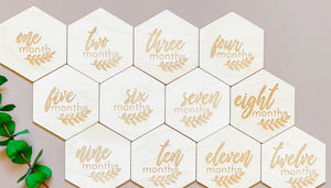 12 Monthly Wooden Milestone Discs - Urban Baby Co.