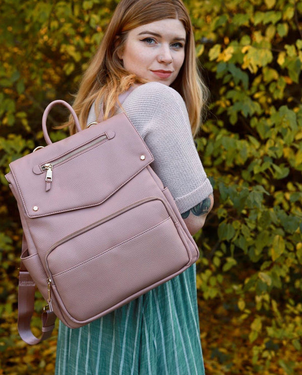 Lux Vegan Dusty Rose Leather Diaper Backpack