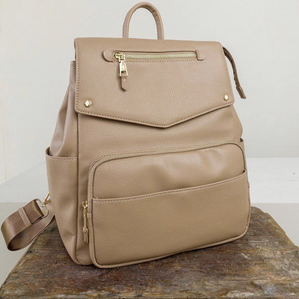 Lux Vegan Taupe Leather Diaper Backpack