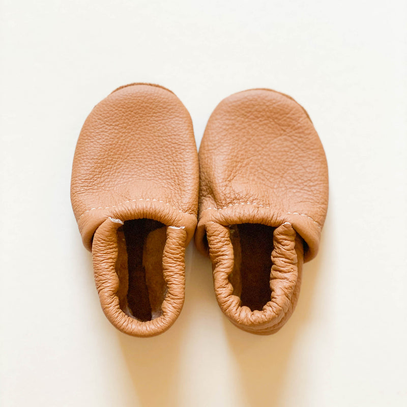 Leather Baby & Toddler Loafer Moccasins - Camel