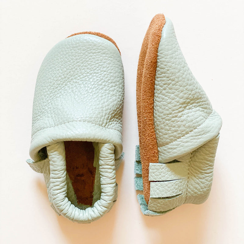 Leather Baby & Toddler Fringe Moccasins - Tea Green