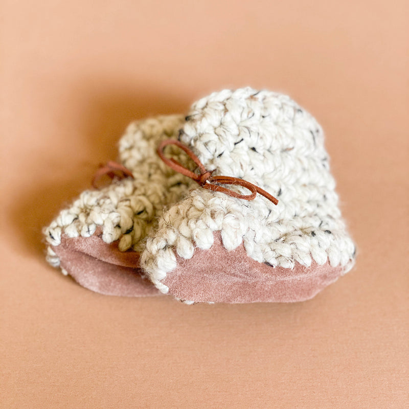 Hand Knit Baby Booties - Oatmeal