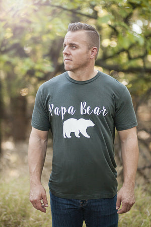 Papa Bear, Men's, Tee, T-Shirt, TShirt, Top, Shirt, Outfit, Organic, Made in USA, Ecofriendly, Ecofashion