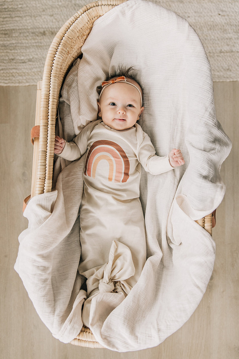Blush Watercolor Rainbow Organic Infant Gown