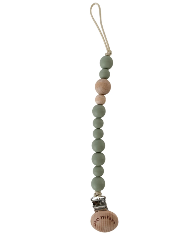 Silicone + Wood Pacifier Clip - Succulent