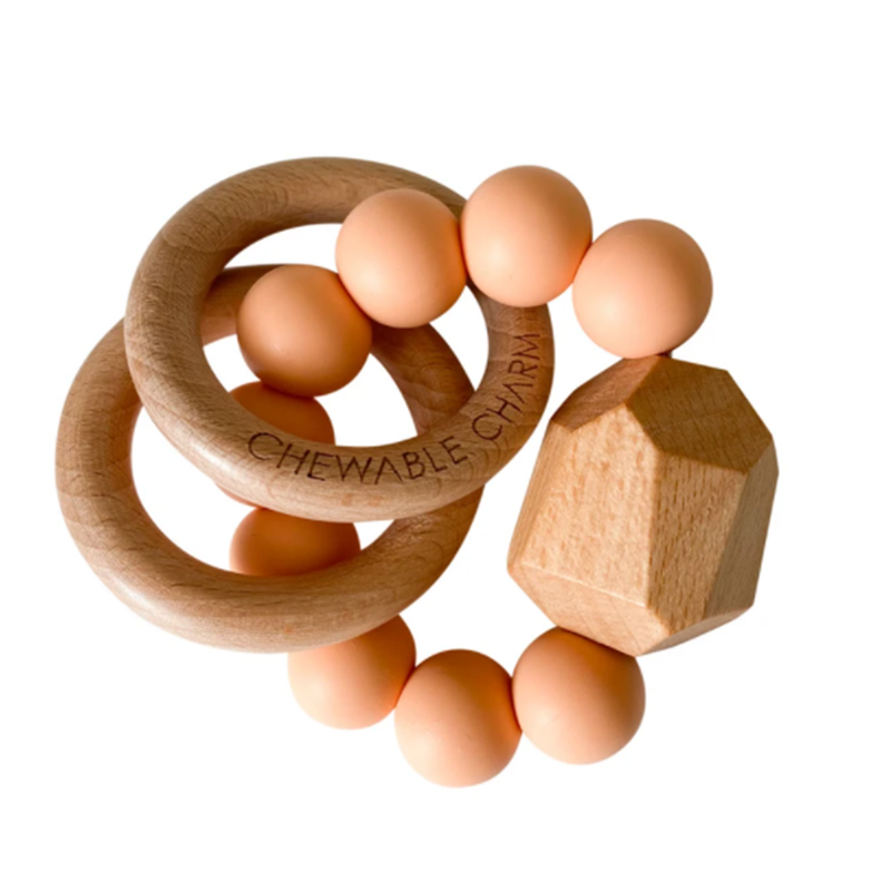 Hayes Silicone + Wood Teether Toy - Peach