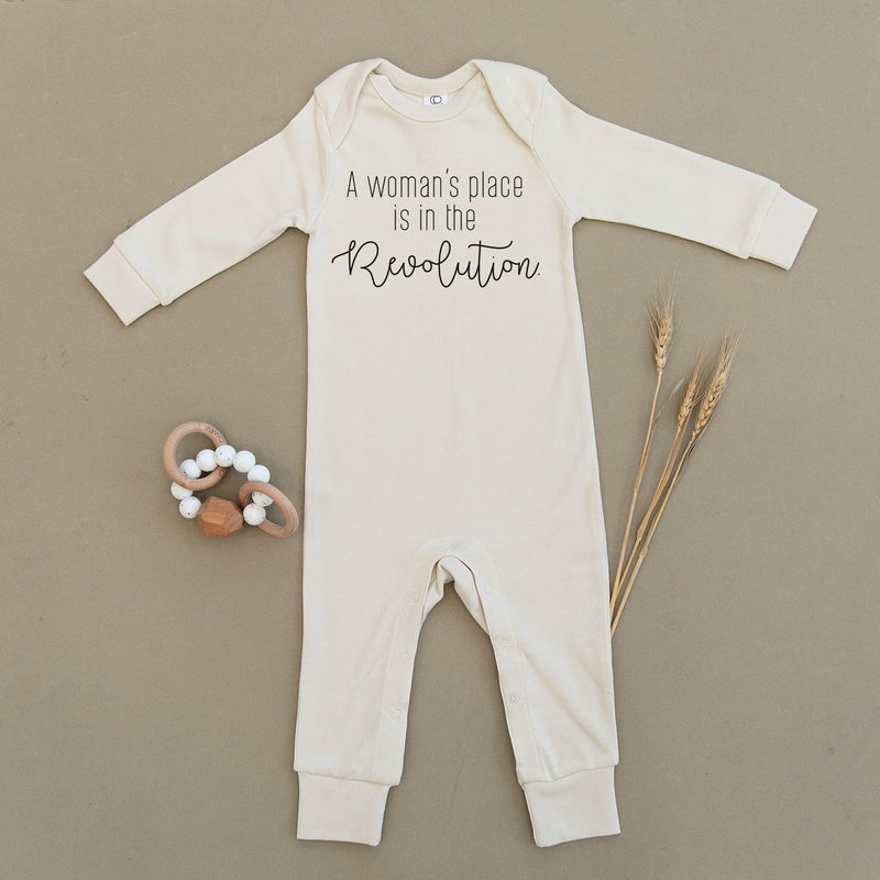 A Woman's Place Is In The Revolution Organic Baby Playsuit