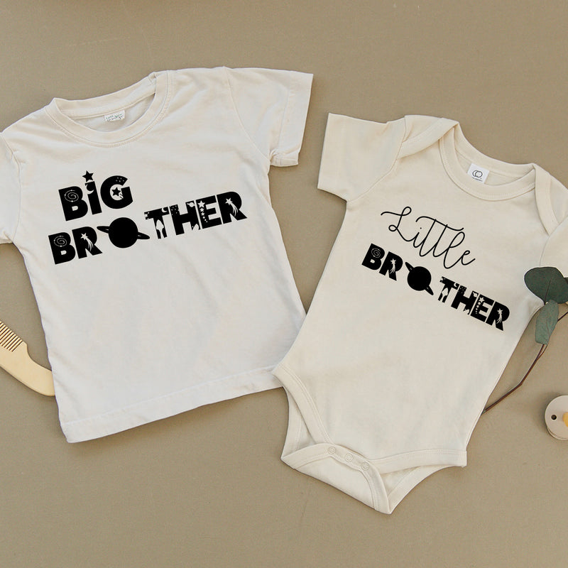 Big Brother & Little Brother Space Theme Organic Baby Set