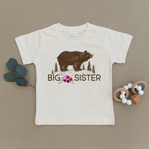 Big Sister Floral Bear Organic Cotton Toddler Tee