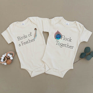Birds of a Feather Flock Together Twin Organic Baby Onesies®