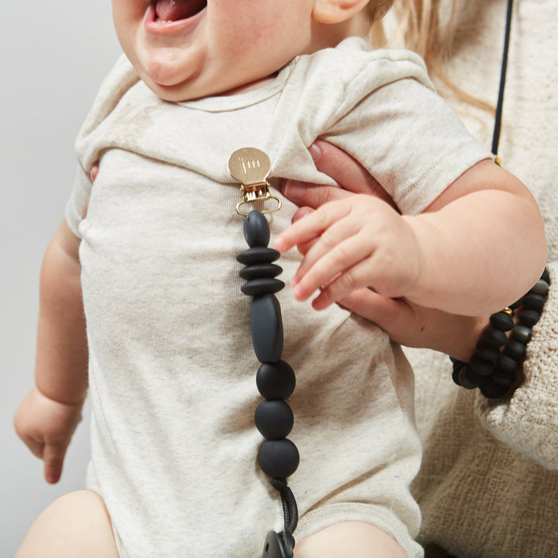 Premium Silicone Pacifier Clip - Charcoal