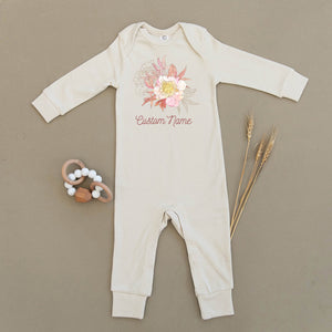 Custom Name Floral Organic Baby Playsuit