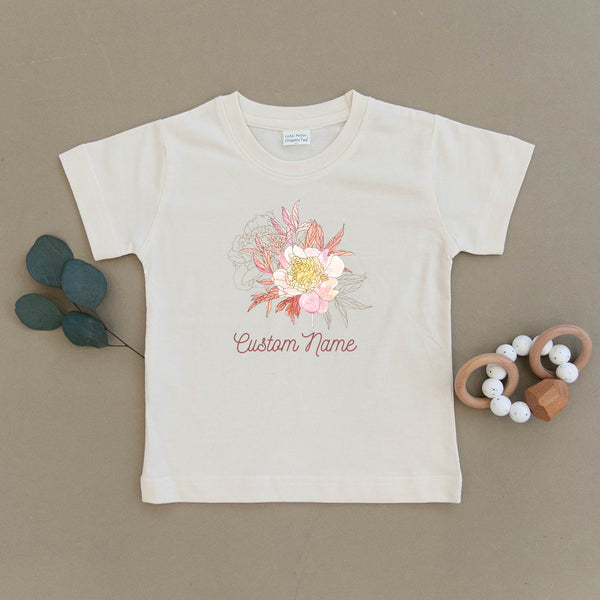 Custom Name Floral Organic Toddler Tee
