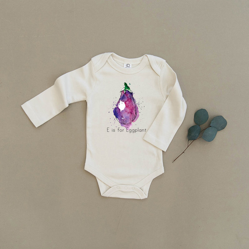 E is for Eggplant Organic Baby Onesie®